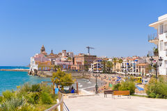 Landscape of the coastline in Sitges, Barcelona, Catalunya, Spain. Copy space for text. Stock Photos