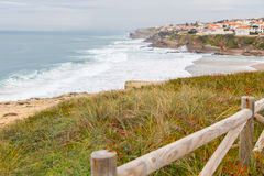 Landscape coastline with wooden fance and plants Stock Image