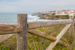 Landscape coastline with wooden fance and plants Royalty Free Stock Photo