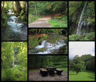 Landscape collage of Bad Urach with waterfall Stock Image
