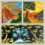 Landscape Collage. Collage of different landscape paintings Stock Photo