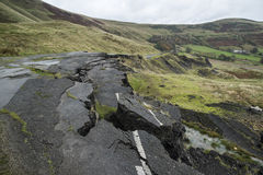 Landscape of collapsed A625 road in Peak District UK Royalty Free Stock Images