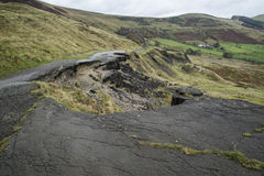 Landscape of collapsed A625 road in Peak District UK Stock Photos
