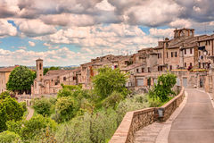 Landscape of Colle di Val d'Elsa, Tuscany, Italy. Landscape of the medieval town Colle di Val d'Elsa, Tuscany, Italy; ancient village on the hill surrounded by Royalty Free Stock Photos