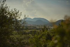 The landscape of the Colli Euganei. stock photo