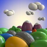 Landscape of Colored Eggs. 3d illustration of a landscape made of colored eggs vector illustration