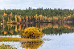 Landscape with colorful autumn forest, lake and reflection. Finland Stock Images