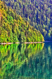 Landscape colorful painting of scenery view of mountain lake stock photo