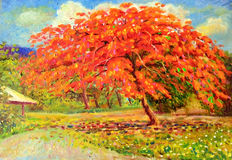 Landscape colorful of peacock flower tree and emotion in red. Painting oil color landscape original colorful of peacock flower tree and emotion in red with cloud vector illustration