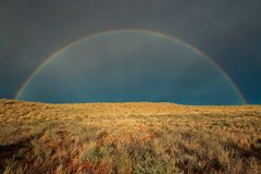 Rainbow landscape - Kalahari desert. Landscape with a colorful rainbow in stormy sky, Kalahari desert, South Africa stock image