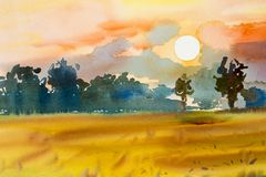 Landscape colorful of rice field with big tree in sunset. Watercolor  painting original landscape colorful of rice field with big tree in sunset and emotion in Stock Image