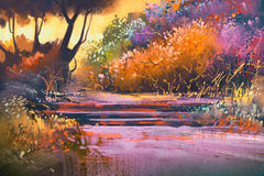 Landscape with colorful trees in forest. Illustration painting Royalty Free Stock Image