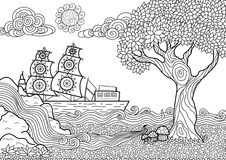 Landscape coloring book. Hand drawn seascape zentangle style for coloring book Royalty Free Stock Photography