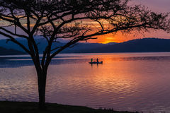 Landscape Colors Dam Bass Fishing Boat Stock Images