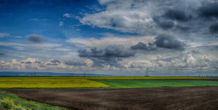 Summer Landscape in Bulgaria with colourful fields stock photography