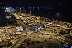Landscape commercial harbor of night. From Salerno, Italy Royalty Free Stock Image