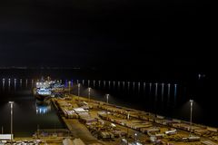 Landscape commercial harbor of night. From Salerno, Italy Royalty Free Stock Photography