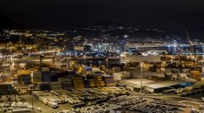 Landscape commercial harbor of night. From Salerno, Italy Stock Images
