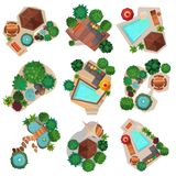 Landscape Compositions Top View Set. With pond or pool, trees and shrubs, garden furniture isolated vector illustration Stock Photo