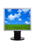 Landscape on computer screen Royalty Free Stock Photo