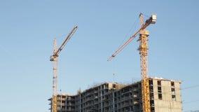 Landscape of construction site. Construction tower, construction crane stock video