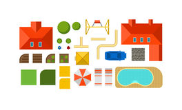 Landscape constructor plan private house courtyard, lawn and pool top view flat vector. Royalty Free Stock Photography