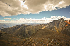 Landscape in Cordiliera Huayhuash of Peru Stock Photo