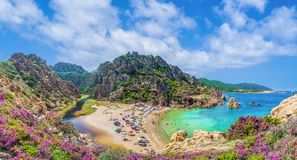 Landscape of Costa Paradiso with Spiaggia di Li Cossi, Sardinia. Island royalty free stock photography