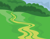 Landscape Country Road Illustration. Landscape Summer or Spring View. Country road across the meadow. Green grass, hills and forest in the distance. Digital Stock Images