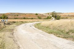 Landscape with a country road at Matanza de Soria. Province of Soria, Spain Stock Image