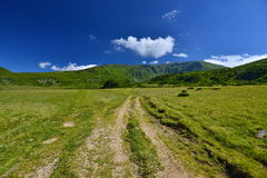 Landscape country road and mountains in Rodnei mountains. Stock Image