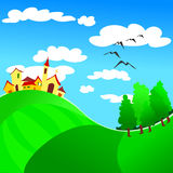 Landscape with country and woods. Vector illustration depicting a landscape with country and woods Royalty Free Stock Photo