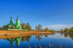 Landscape of countryside with a beautiful temple in the village Royalty Free Stock Photos