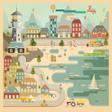 Landscape of Countryside Harbour Village. Element of Landscape view of Countryside Harbour Village vector illustration Stock Photo