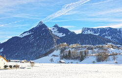 Landscape of countryside in Switzerland in winter stock photo