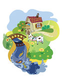 Landscape with cows and river. Farmer cottage with cows on to the meadow at a pond Royalty Free Stock Photography