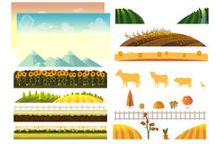 Landscape creator. Vector collection of landscape and farming design elements Royalty Free Stock Image