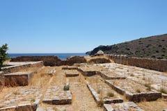 Landscape of crete costline from spinalonga island. Royalty Free Stock Photo