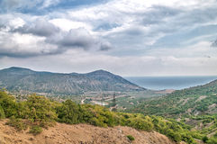Landscape of the Crimean Mountains, Russia. Landscape of a mountain valley in the Crimea, Russia Royalty Free Stock Image