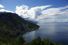 Blue clouds mountain and sea in Croatia. Landscape on the go in Croatia Royalty Free Stock Images