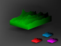 Landscape cubes set on dark background. Abstract landscape cubes made from  charts Stock Images