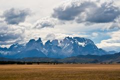 Landscape of Cuernos del Paine Mountains Royalty Free Stock Images