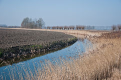Landscape with curved ditch. And plowed field Royalty Free Stock Images