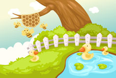Landscape cute duck and bees. Illustration of landscape cute duck and bees Royalty Free Stock Images