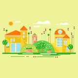 Landscape with Cute Little Houses. Vector Illustration Stock Photo