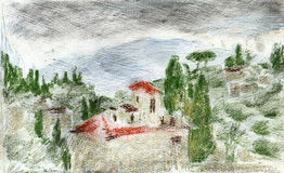 Landscape with cypresses. Pastel/watercolors landscape, representing a red-roof house among cypresses and italian pine trees. Suitable for backgrounds Royalty Free Stock Photo