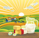 Landscape and dairy products. Royalty Free Stock Photo