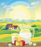 Landscape and dairy products. Sunny summer landscape with a still life of dairy products Royalty Free Stock Photography