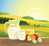 Landscape with dairy products. Stock Photo