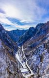 Landscape with dam lake Vidraru. In Romania stock image